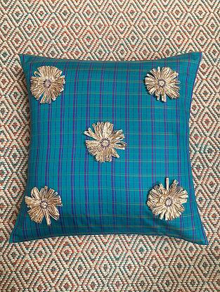 Gota Phool Blue Ilkal Kora Silk Cushion Cover (16in x 16in)