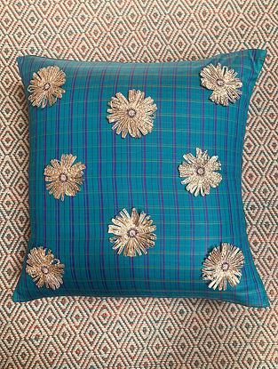 Gota Phool Blue Ilkal Kora Silk Cushion Cover (19.5in x 19.5in)