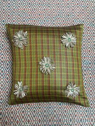 Gota Phool Green Ilkal Kora Silk Cushion Cover (16in x 16in)