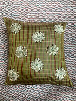 Gota Phool Green Ilkal Kora Silk Cushion Cover (19.5in x 19.5in)