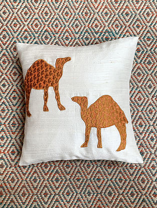 Camel White Dupion Silk Cushion Cover with Patchwork (12in x 12in)