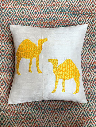 Camel White Dupion Silk Cushion Cover Patchwork (12in x 12in)