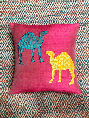 Camel Pink Dupion Silk Cushion Cover Patchwork (12in x 12in)