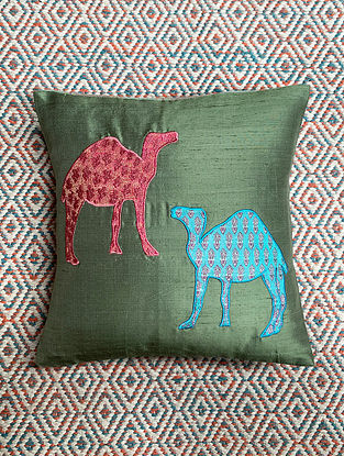 Camel Green Dupion Silk Cushion Cover Patchwork (12in x 12in)