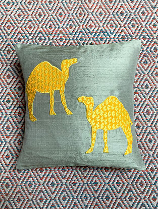 Camel Grey Dupion Silk Cushion Cover Patchwork (12in x 12in)