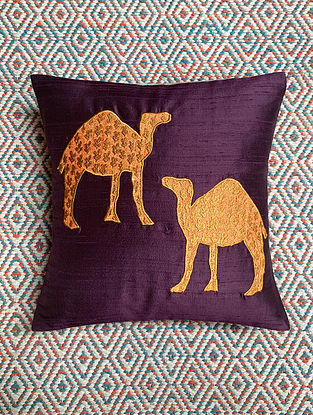 Camel Purple Dupion Silk Cushion Cover Patchwork (12in x 12in)
