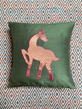 Hiran Green Dupion Silk Cushion Cover Patchwork (12in x 12in)