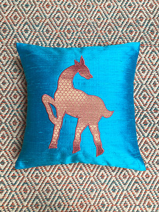Hiran Turquoise Dupion Silk Cushion Cover Patchwork (12in x 12in)