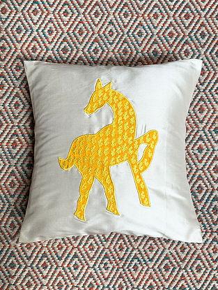 Hiran White Dupion Silk Cushion Cover Patchwork (12in x 12in)