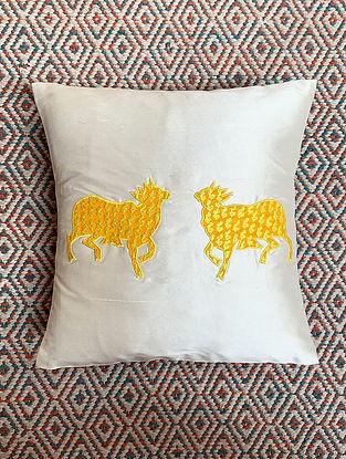Gai White Dupion Silk Cushion Cover Patchwork (12in x 12in)