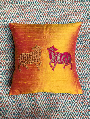 Gai Yellow Dupion Silk Cushion Cover Patchwork (12in x 12in)