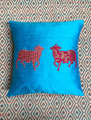 Gai Blue Dupion Silk Cushion Cover Patchwork (12in x 12in)