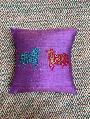Gai Purple Dupion Silk Cushion Cover Patchwork (12in x 12in)