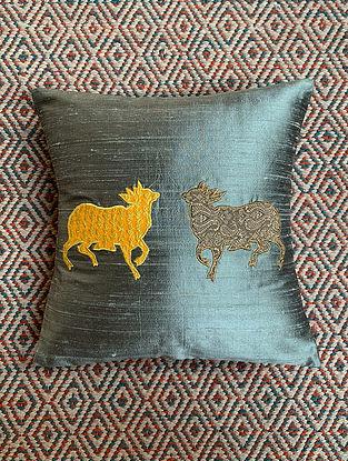 Gai Grey Dupion Silk Cushion Cover Patchwork (12in x 12in)