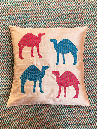 Camel Pink Dupion Silk Cushion Cover Patchwork (16in x 16in)