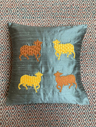 Gai Grey Dupion Silk Cushion Cover Patchwork (15.5in x 15.5in)