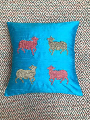 Gai Blue Dupion Silk Cushion Cover Patchwork (16in x 16in)