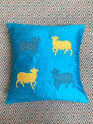 Gai Blue Dupion Silk Cushion Cover Patchwork (15.5in x 15.5in)