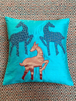 Hiran Blue Dupion Silk Cushion Cover Patchwork (16in x 16in)