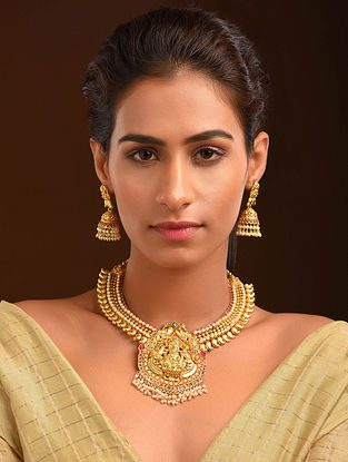 Pink Gold Tone Temple Necklace With Earrings (Set of 2)