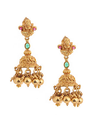 Pink Green Gold Tone Temple Jhumkis