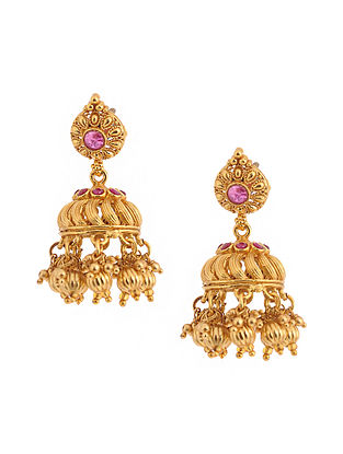 Pink Gold Tone Temple Jhumkis