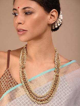 Gold Tone Beaded Necklace with Pearls