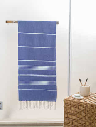 Blue Cotton Bath Towel (63in x 30.5in)