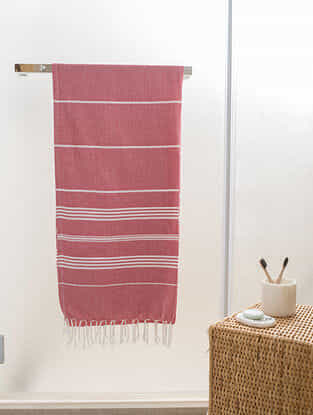 Imperial Red Cotton Bath Towel (65in x 31in)