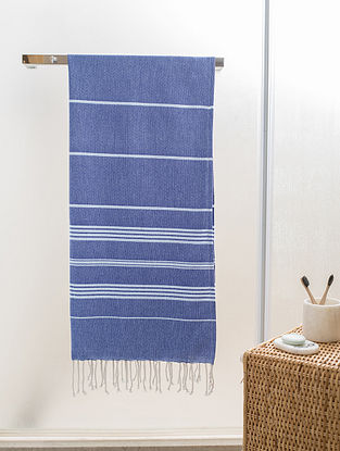 Blue Cotton Beach Towel (70in x 39in)