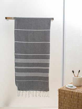 Grey Cotton Beach Towel (70in x 39in)