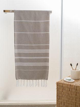 Beige Cotton Beach Towel (71in x 38.5in)