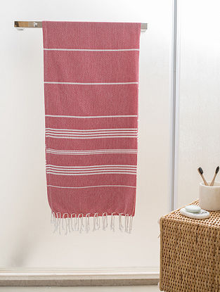 Red Cotton Beach Towel (72in x 39in)
