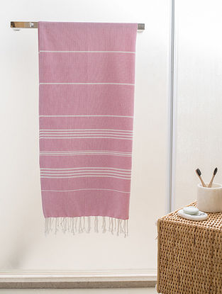 Pink Cotton Beach Towel (73in x 37.5in)
