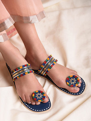 Blue Handcrafted Genuine Leather Flats
