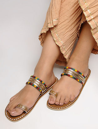 Brown-Multicolored Toe Ring Leather Flats with Tilla Embroidery