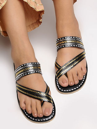 Black Cross Strap Leather Flats with Tilla Embroidery