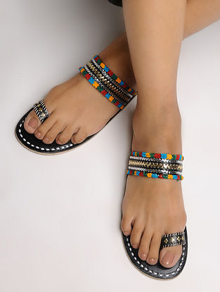Black-Multicolored Toe Ring Leather Flats with Tilla Embroidery