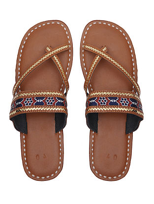 Brown Handcrafted Leather Flats with Tilla Embroidery