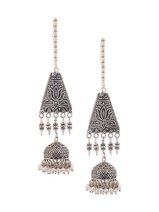 Silver Tone Jhumkis with Pearls