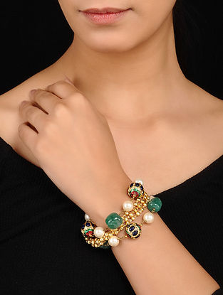 Multicolored Gold Tone Meenakari Bracelet with Pearls