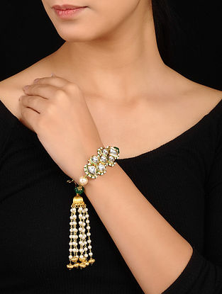 Green Gold Tone Kundan Bracelet with Pearls