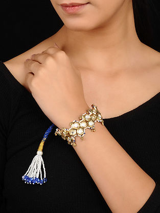 Blue Gold Tone Kundan Bracelet with Pearls