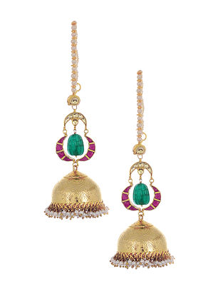 Green Pink Gold Tone Jhumki Earrings with Pearls