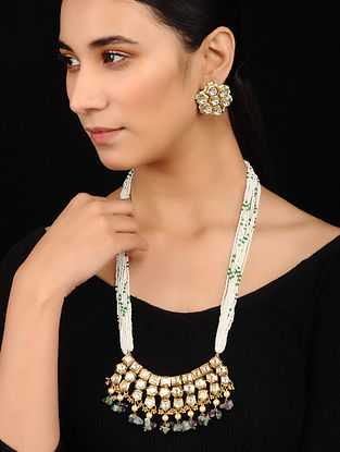 Green Purple Pearl Beaded Gold Tone Kundan Necklace with Earrings (Set of 2)