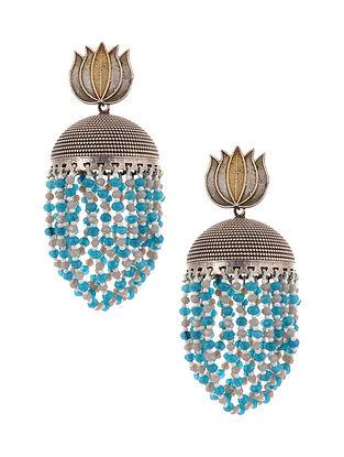 Blue Dual Tone Jhumki Earrings with Pearls