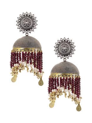 Maroon Dual Tone Jhumki Earrings with Pearls