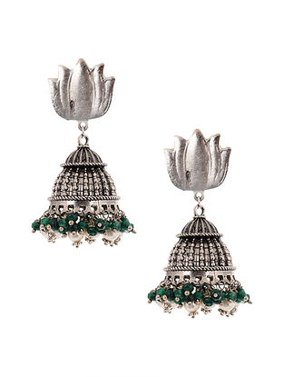 Green Silver Tone Jhumki Earrings with Pearls
