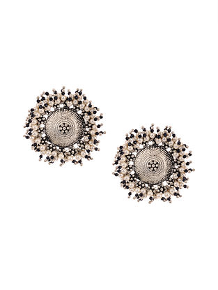 Black Silver Tone Stud Earrings with Pearls