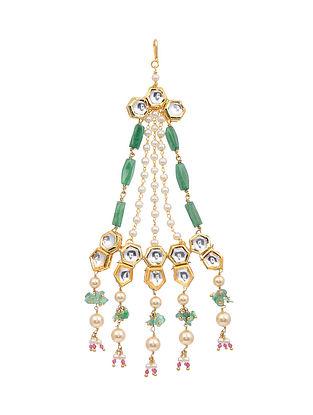Green Gold Tone Kundan Passa with Pearls